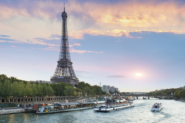 Eiffel Tower and the Seine River, Paris, France, Europe