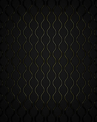 Black waves guilted pattern background with gold trim