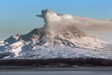 Eruption active Shiveluch Volcano on Kamchatka Peninsula