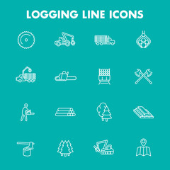 Logging, sawmill, forestry equipment line icons, isolated set, logging truck, tree harvester, timber, lumberjack, wood, lumber, vector