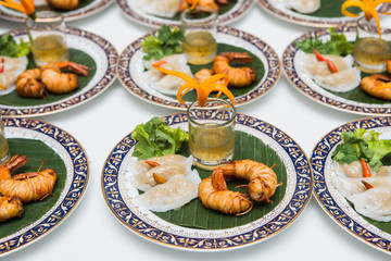 Thai steamed rice-skin dumplings with fried shrimp.