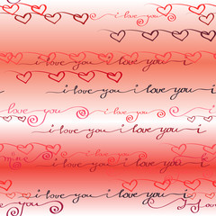 Seamless pattern. I love you words background.