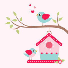 birdhouse on a branch and lovely bird