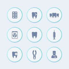Teeth, dental care, tooth cavity, toothcare, stomatology round stylish icons, vector illustration