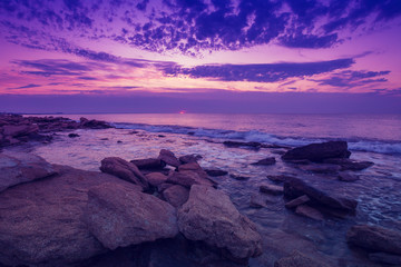 Photo sur Aluminium Prune Wild rocky beach at dawn
