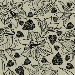 Vector seamless floral pattern, freehand drawing - flowers and leafs