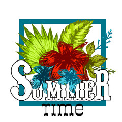 Tropical vector bright print summer flowers in square