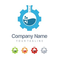 Laboratory Logo - Gear, Test Tube, Circle Design Logo Vector