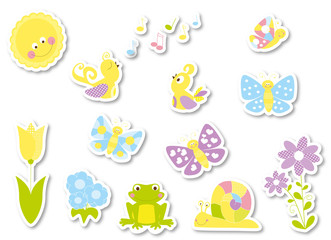 Stickers set of cute cartoon spring nature elements : butterflies , birds , flowers , sun  /  vectors collection for children