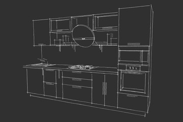 Black-and white kitchen drawing