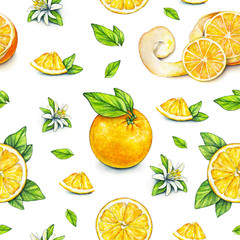 Orange fruits ripe with green leaves. Watercolor drawing. Handwork. Tropical fruit. Healthy food. Seamless pattern for design.