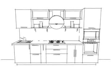 White kitchen drawing