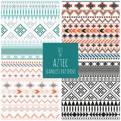 Set of four aztec seamless patterns