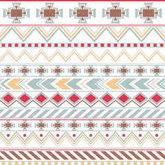 Aztec colorful ethnic seamless pattern, tribal light background