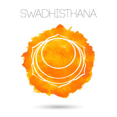 Vector isolated on white background illustration one of the seven chakras - Swadhisthana. Watercolor painted texture.