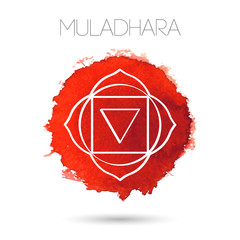 Isolated on white background illustration of one of the seven chakras - Muladhara. Watercolor hand painted texture.