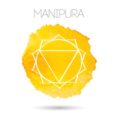 Vector isolated on white background illustration of one of the seven chakras - Manipura. Watercolor painted texture.