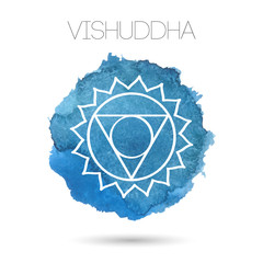 Vector isolated on white background illustration of one of the seven chakras -Vishuddha. Watercolor painted texture.