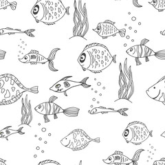 Black and white color seamless pattern illustration background with cute fishes