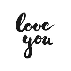 Calligraphy handwritten lettering text Love You for greeting with Valentines day