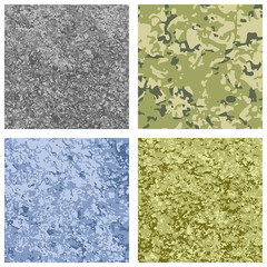 Set of four different color military texture background.