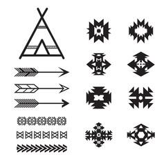 Aztec ethnic elements set, tribal black and white