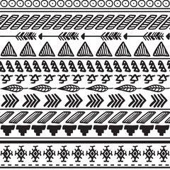 Aztec ethnic seamless pattern, tribal black and white background