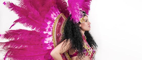 Brazilian samba dancer wearing traditional pink costume profile letterbox