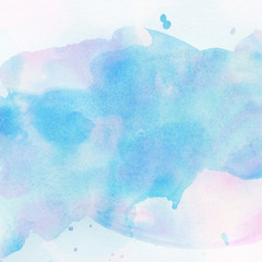 Light abstract blue painted watercolor splashes background