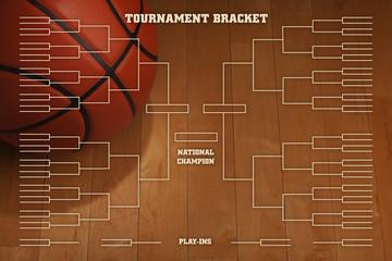 Basketball tournament bracket with spot lighting on wood gym flo