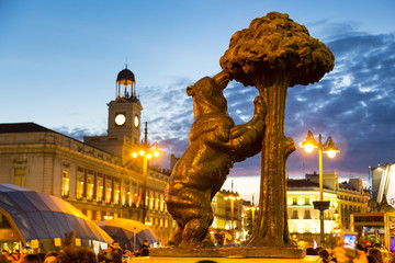 Statue of bear on Puerta del Sol, Madrid, Spain.