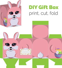 Adorable Do It Yourself DIY Easter bunny with egg gift box with ears for sweets, candies, small presents. Printable color scheme. Print it on thick paper, cut out, fold according to the lines.
