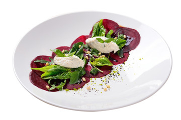 sliced beets with pine nuts, cereal, green, isolated image