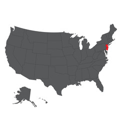 New Jersey red map on gray USA map vector