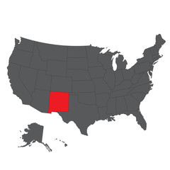 New Mexico red map on gray USA map vector