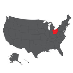 Ohio red map on gray USA map vector