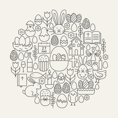 Happy Easter Line Icons Set Circle Shape