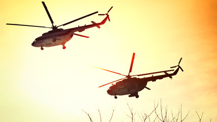 Helicopters of the Air Force of the Republic of Belarus on the approach to the airfield near Minsk