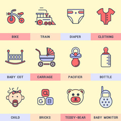 Set of Baby vector icons in the flat style.
