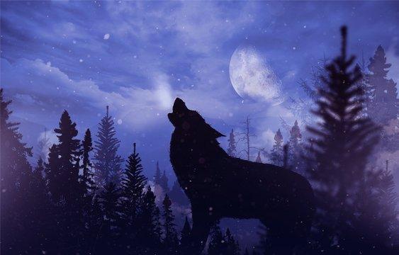 Howling Wolf in Wilderness