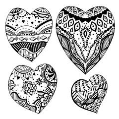 zentangle style hearts