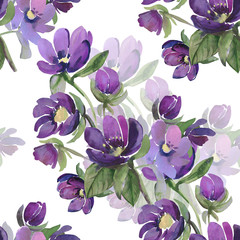 Watercolor illustration  flowers seamless pattern