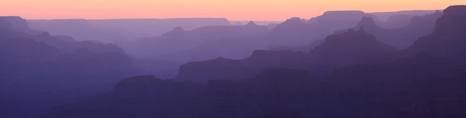 Canvas Print - Grand Canyon Sunset Silhouette Panorama