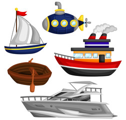 Sea and Water Transportation Vector Set
