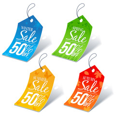 Seasonal Shopping Sale 50 Percent Off Discount Price Tags