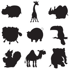 illustration of animation silhouettes of animals for children's book of riddles