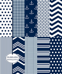 Repeating patterns for digital paper, scrapbooking, cards, invitations, announcements, gift wrap, backgrounds and borders. File includes: anchor prints, polka dots, gingham, stripes, chevron and more