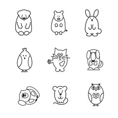 set of animal doodle contours, like bear, pig, rabbit, chicken, cat, dog, marmot, mouse, owl, line icons on white background