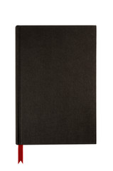Black plain hardcover book or bible front cover upright
