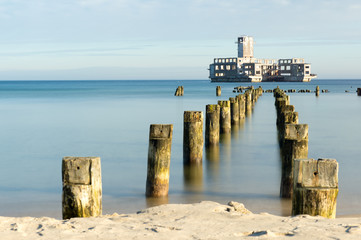 Ruins of famous german torpedo at Baltic sea in Gdynia